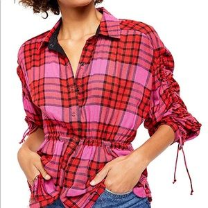 NWT Free People Pacific Dawn Shirt Red Combo Sz M